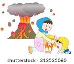 mother who protects children... | Shutterstock .eps vector #313535060