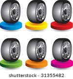 tire on colored discs   Shutterstock .eps vector #31355482