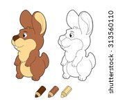 smiling cartoon bunny. vector... | Shutterstock .eps vector #313560110