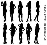 fashion woman model silhouette... | Shutterstock .eps vector #313572458