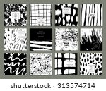 set of creative freehand cards. ... | Shutterstock .eps vector #313574714