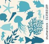 sea life vector seamless...   Shutterstock .eps vector #313583189