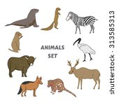 Cartoon Cute Animals Vector Set....