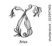 zodiac sign aries  floral... | Shutterstock .eps vector #313597403