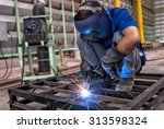 worker with protective mask... | Shutterstock . vector #313598324