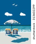 couple sitting on deck chairs... | Shutterstock .eps vector #313602299