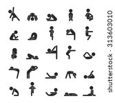 set of yoga poses character  ... | Shutterstock .eps vector #313603010