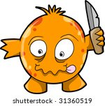 Crazy Monster Vector Illustration - stock vector