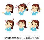 vector girl women expression set