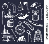 camping sketched elements.... | Shutterstock .eps vector #313609544