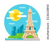eiffel tower flat design... | Shutterstock .eps vector #313610843