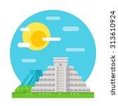 chichen itza flat design... | Shutterstock .eps vector #313610924
