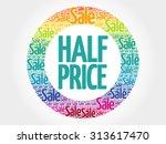 half price stamp vector words... | Shutterstock .eps vector #313617470
