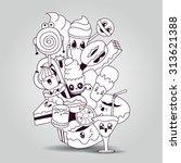 big composition of doodle... | Shutterstock .eps vector #313621388