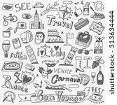 italy travel doodles icons  | Shutterstock .eps vector #313634444