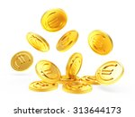 falling golden coins with euro... | Shutterstock . vector #313644173