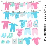Stock vector collection of baby shower bunting and clothesline 313647476