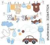 baby boy baby shower elements | Shutterstock .eps vector #313647524