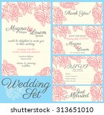 wedding card with drawing roses ... | Shutterstock .eps vector #313651010
