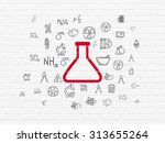 science concept  painted red... | Shutterstock . vector #313655264