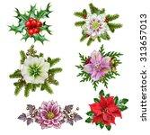 Set Of Christmas Wreaths And...