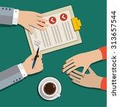businessman hand sign business... | Shutterstock .eps vector #313657544