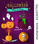 set of halloween flat icons.... | Shutterstock .eps vector #313657793