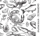 vector hand drawn seafood... | Shutterstock .eps vector #313666040
