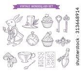 Wonderland Hand Drawn Set Of...