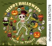 vintage halloween character... | Shutterstock .eps vector #313671278