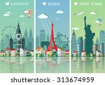 cities skylines set. flat... | Shutterstock .eps vector #313674959