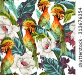 Seamless Pattern With Bird Of...