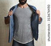 Man Wearing Blank Grey T Shirt