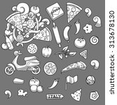 pizza elements black and white...