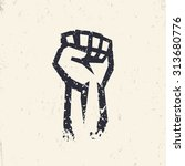fist held high in protest ... | Shutterstock .eps vector #313680776