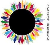 family silhouettes | Shutterstock .eps vector #313681910