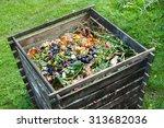 compost bin in the garden.... | Shutterstock . vector #313682036