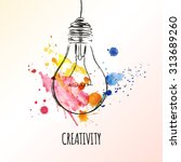 creativity concept. light bulb... | Shutterstock .eps vector #313689260