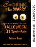 invitation design for halloween ... | Shutterstock .eps vector #313690280