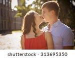 beautiful brunette couple in... | Shutterstock . vector #313695350