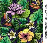 tropical seamless pattern with... | Shutterstock .eps vector #313695626