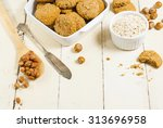 oatmeal cookie chips with... | Shutterstock . vector #313696958