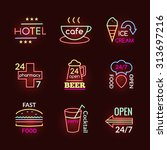 neon signs of beer pub hotel... | Shutterstock .eps vector #313697216