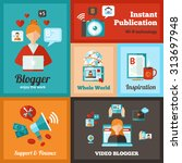 blogger mini poster set with... | Shutterstock .eps vector #313697948