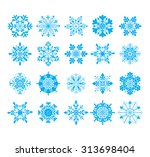 20 snowflakes icon collection. | Shutterstock .eps vector #313698404