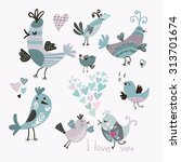 set of cute birds with hearts | Shutterstock .eps vector #313701674