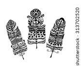 set of ethnic zentangle tribal... | Shutterstock .eps vector #313702520