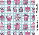 muffin birthday pattern | Shutterstock .eps vector #313702670