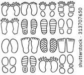 vector set of footprints and... | Shutterstock .eps vector #313707650
