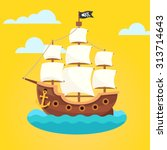 pirate ship with white sails... | Shutterstock .eps vector #313714643